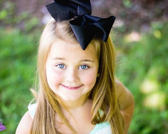 Big Black Bow, Southern Hair Bow, Large Black Hair Bow, Black Bow, Gift for Girl, Stocking Stuffer, Big Boutique Bow, Big Southern Hair Bow