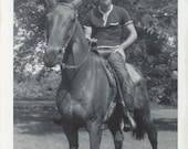 Johnnie on Leave - Vintage 1960s Young Man on Horse Photograph