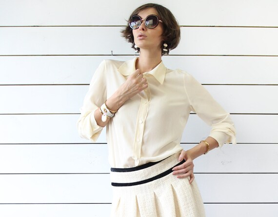 GENNY Vintage ivory cream white pure silk long sleeve button up shirt blouse top M L