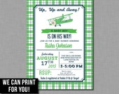 Kelly Green and Navy Airplane Baby Shower Invitation Digital or Printed