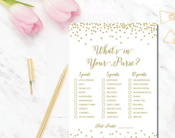 Gold What's in Your Purse bridal shower game Amelia BR58 Instant Download