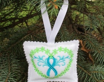 "Ovarian Cancer Awareness ""Ribbon"" Ornament"