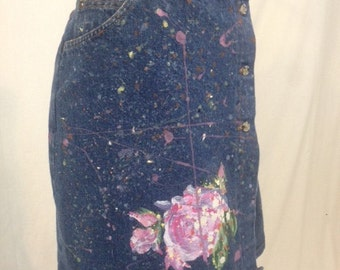 Hand Painted Denim Wrap Skirt.  Pink Floral.