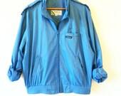 Sea Blue Vintage Members Only Jacket / Retro Unisex Windbreaker / Vintage Bomber Jacket / Bold Blue Lightweight Jacket