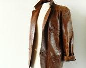 Milk Chocolate Vintage Distressed Leather Jacket / 80s Italian Leather Blazer / Boho Leather Jacket