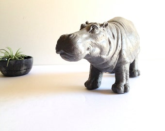 MEDIUM GRAY Hippo Animal Statue / kids room decor / table top statue / office decor / grey / hippopotamus / nursery decor / safari theme