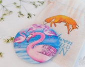 Flamingo Fabric Pocket Mirror, Cosmetic Mirror, Makeup Mirror, Gifts for Women, Fabric Covered Mirror