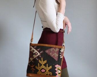 Kilim Woven Sisal Wool Purse Crossbody Blanket Bag Ethnic Southwestern