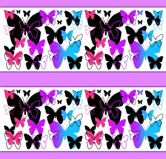 Rainbow butterfly wallpaper border wall decals teen girls for Butterfly wallpaper border