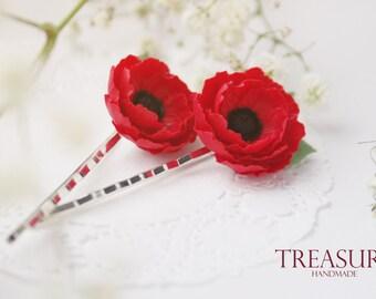 Red flower hair pins, poppy hair pins, red poppy hair pins, red flower hair jewelry, red floral hair pins, poppy pin, flower pin, red flower