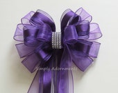Purple Wedding Pew Bow Purple Church Aisle Decoration Bow Purple Weath Bow Party Shower Birthday Gift Bow