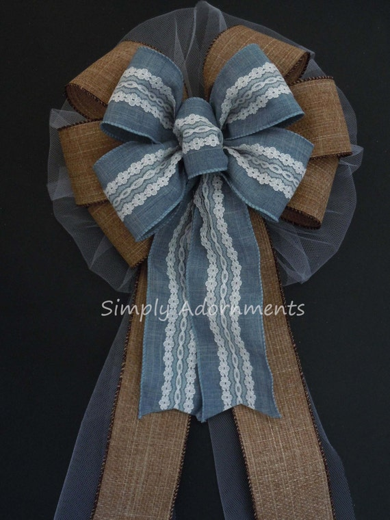 Country Denim Lace Wedding Bow Rustic Burlap Denim Lace Church Pew Bow Blue Denim and Lace Wedding Chair Bow Vintage wedding Sign Decor