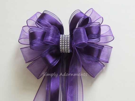 Purple Wedding Pew Bow Purple Church Aisle Decoration Bow Purple Weath Bow Party Shower Birthday Gift Bow