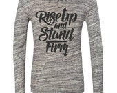 PREORDER // Rise Up & Stand Firm // White Marble // Women's Tee Pullover Hoodie