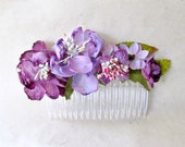 Flower Hair Comb with Handmade Paper Flowers in Purple and Lilac. Floral Arrangement Hair Accessory for Weddings. Rustic  Bohemian Headpiece