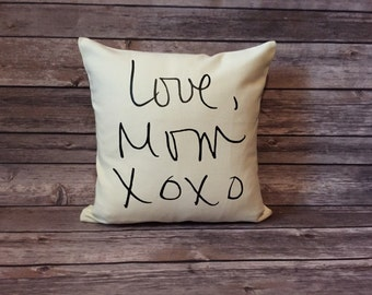 Memory Pillow Cover, Handwriting Pillow, Personalized Pillow, Rememberance Gift, In Memory Of, Loved Ones handwriting, Signature Pillow