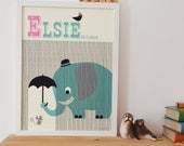 Personalised 'Eager Elephant' Name Print