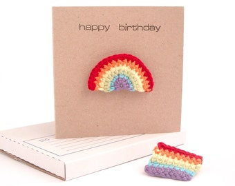 Rainbow Brooch Card / Rainbow Card / Rainbow Badge / Greetings Card/ Rainbow Gift / Eco-friendly Card