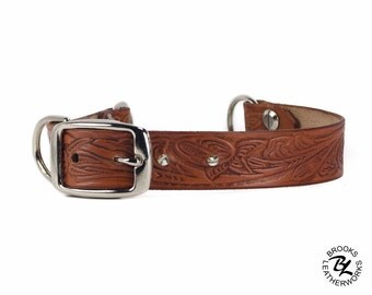 Leather Martingale Dog Collar, Embossed Greyhound Martingale Leather Dog Collar, Leather Pet Collar, 1 Inch Wide Embossed Leather Dog Collar