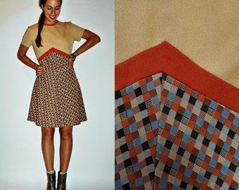 1960s Two Tone Fall Plaid A Line Dress