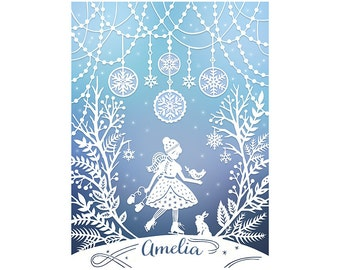 Personalized Print - 8x10 Print of Original Papercut - Customized with Your Name - Winter Wonderland Illustration