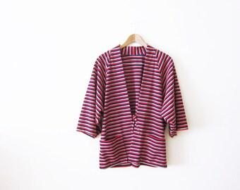 Kimono Jacket / 70s Clothing / Striped Kimono Cardigan / Minimalist