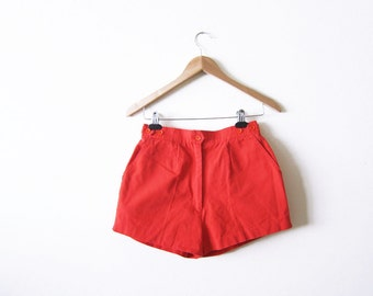 High Waisted Shorst / Vintage Red Pin Up Shorts / 70s Womens Shorts