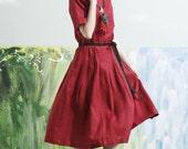 2016 new red dress, knee length linen dress, long linen dress, shirt linen dress, red dress, cocktail dress, formal dress, tunic dress