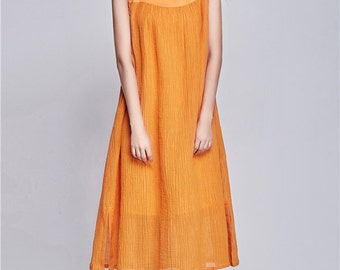 Prom Dress , Linen Dress with pockets, Casual , Day Dress ,Loose Fitting Dress, Women Dress, Orange Dress, Long Linen Dress, linen sundress