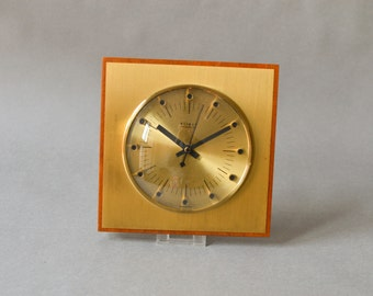 Vintage wall brass clock, GDR clock brass clock, Weimar clock, Teak East German clock Ref: 122