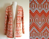 Psychedelic 60s Vintage Cardigan, Tribal Print Jacket, Retro Polyester Sweater
