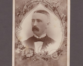 Cabinet Card of a Mustached Man ~ Interesting Surround