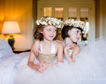 Champagne Sequin Tutu Dress, Sequin Flower Girl Dress, Sequin Tutu Dress, Blush Tulle, Flower Girl Dress