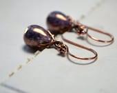 Purple Lustre Earrings, Copper Dangle Earrings, Tear Drop Earrings, Aubergine Jewelry, Purple Earrings, Elegant Jewellery, Gift Ideas Women