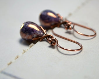 Purple Lustre Earrings, Copper Dangle Earrings, Tear Drop Earrings, Aubergine Jewelry, Purple Earrings, Elegant Jewellery, Gift Ideas Women