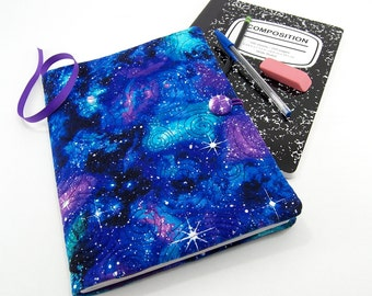 Galaxy Notebook Cover, Reusable Composition Journal Cover, School Notebook  - Cosmos Notebook in Blue, Purple and Green