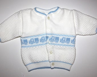 Vintage BABY CARDIGAN - Trucks - White and Blue - 3 to 6 Months