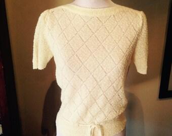 Vintage early 1960s Pale Lemon Knit Top - M