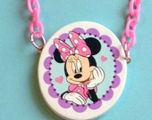 Minni Mouse Cameo Necklace on Pink Plastic Chain