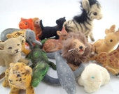 Vintage Flocked Fuzzy Animal Figure toys Figurines Plastic lot of 15 Zoo Animals Zebra Lion Crocodile Tiger Leopard Lion Deer Doe Fawn Sheep