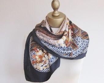 Silk scarf, vintage designer scarf, 1950s silk scarf, square scarves, Paris designer, Maurice Martiri, black and brown