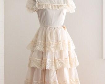 The Laura Dress | Cream Boho Prairie Dress | Vintage 1970s | Bohemian Bridal