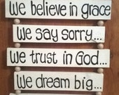 White painted pine wall hanging with beautiful saying