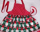 Girls Christmas Apron with Santa - Red and Green Santa Claus Apron - Girl Size 5 to 6