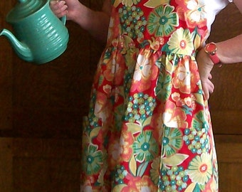 Floral Full Ladies Kitchen Apron - Coral and Aqua Flowered Apron - Size M