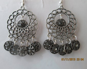 Silver Tone Chandelier Earrings with Black Flower Charm Dangles and Clear Rinestoes