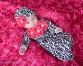 Newborn Girl Coming Home Outfit Gown Damask Pink Flower Rosettes Layette Add Headband or Beanie Hat Options New Baby Girl Gift Set
