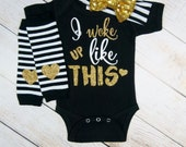 Black Gold Baby Girl Clothes Gift Set Gold Sequin Stripe Bow Headband Heart Leg Warmer Baby Girl Outfit I Woke Up Like This