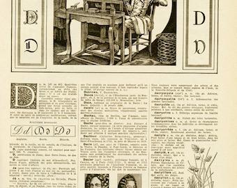 1948 Vintage Letter D French dictionary page Vintage initial D Vintage alphabet letter D Monogram initial D Classroom decor Alphabet decor