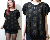 80s Vintage CUT-OUT Top EMBROIDERED T-shirt Black Gold Metallic Floral Rose Cap Sleeve Blouse Bohemian boho Hippie 1980s vtg M L